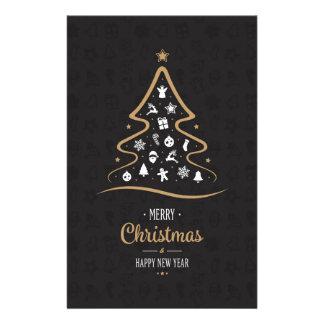 Christmas Elegant Premium Black Gold Stationery Design