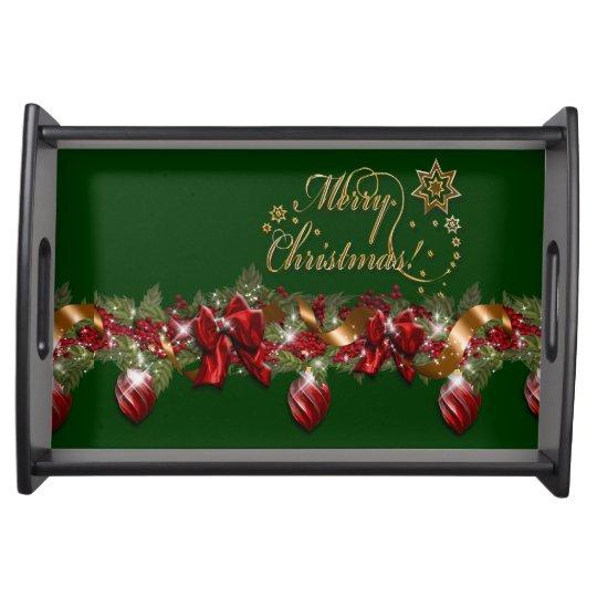 Christmas elegant wreath merry christmas GREEN Serving Platters