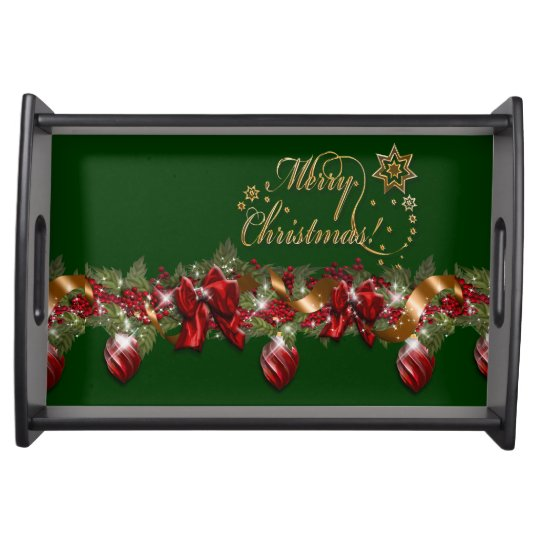 Christmas elegant wreath merry christmas GREEN Serving Tray