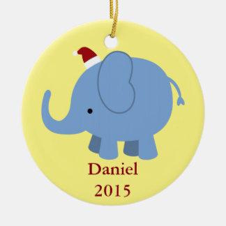 Christmas Elephant Ceramic Ornament