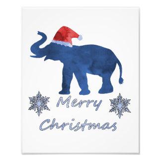 Christmas Elephant Photo Print