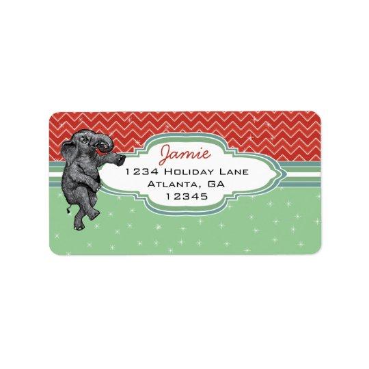 Christmas Elephant Zig Zag Pattern Return Address