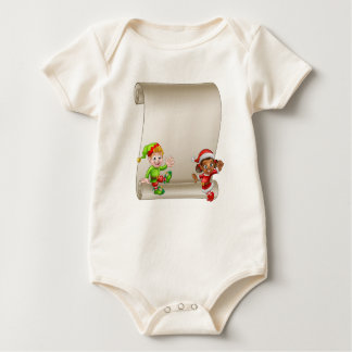 Christmas Elf Cartoon Characters Scroll Sign Baby Bodysuit