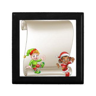 Christmas Elf Cartoon Characters Scroll Sign Gift Box