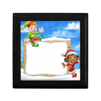 Christmas Elf Cartoon Characters Snow Sign Jewelry Boxes