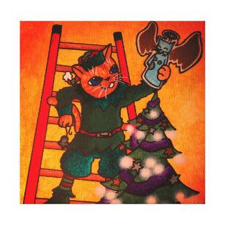Christmas Elf Cat Canvas Print