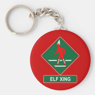 Christmas Elf Crossing Keychain
