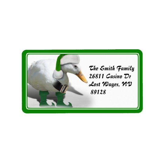 Christmas Elf Duck - Santa's Helper Label