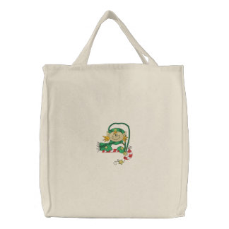 Christmas Elf Embroidered Tote Bags