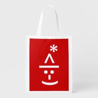 Christmas Elf Emoticon Xmas ASCII Text Art Reusable Grocery Bag