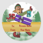 Christmas elf gift tag cute round stickers