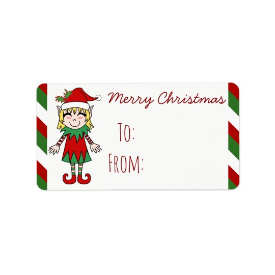 Christmas Elf Girl Merry Christmas Gift Label