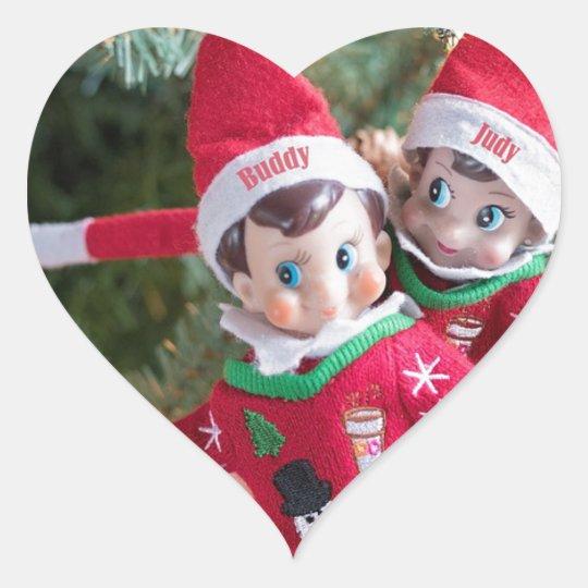 Christmas Elf Heart Sticker