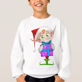 Christmas Elf Holding A Present Sweatshirt