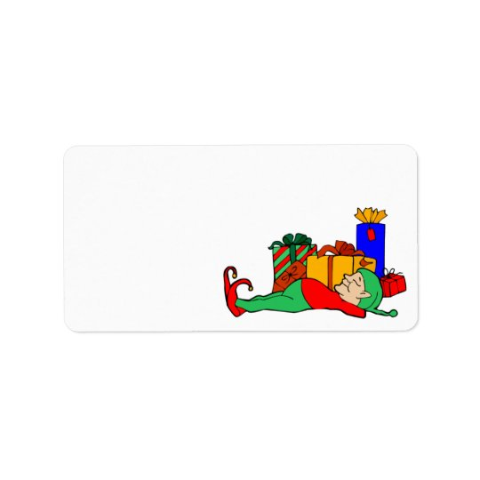 Christmas Elf Holiday Card Self Adhesive Label