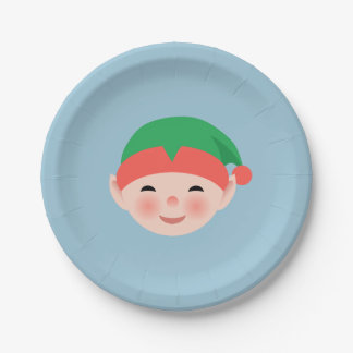 Christmas Elf in Green Hat on Light Blue Paper Plate