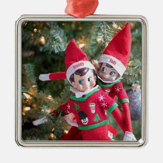 Christmas Elf Metal Ornament