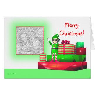 Christmas Elf on Cellphone photo template Card