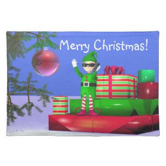 Christmas Elf on Cellphone Place Mat