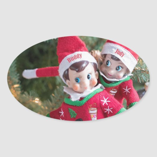 Christmas Elf Oval Sticker