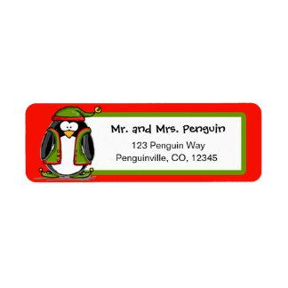 Christmas elf penguin return address labels