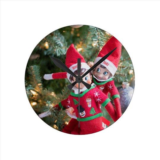 Christmas Elf Round Clock
