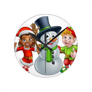 Christmas Elf Santas Helpers and Snowman Round Clock