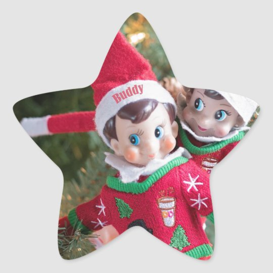 Christmas Elf Star Sticker