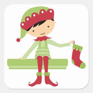 Christmas elf square sticker