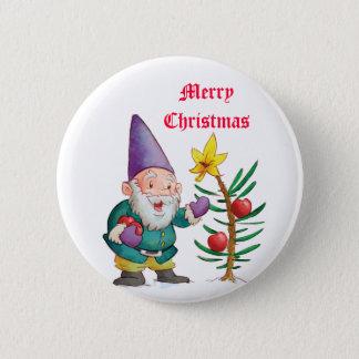 Christmas Elf & Tree 2 Inch Round Button