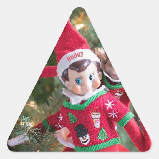Christmas Elf Triangle Sticker