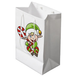 Christmas Elf with Candy Cane Children's Medium Gift Bag