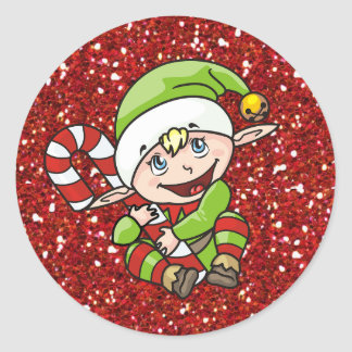 Christmas Elf with Candy Cane Stickers