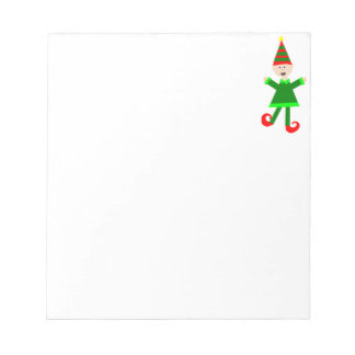 Christmas Elf with Green and Red Striped Star Hat Notepad