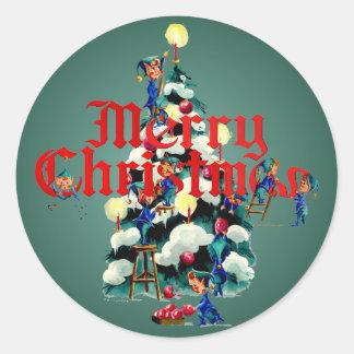 CHRISTMAS ELVES by SHARON SHARPE Classic Round Sticker