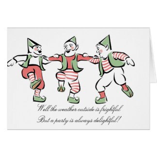 """Christmas Elves Dancing"" Holiday Party Invitation"