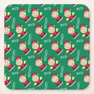 Christmas Elves Naughty or Nice Square Paper Coaster