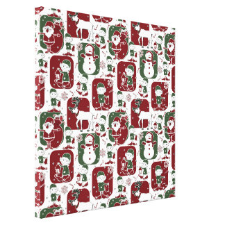 Christmas Elves & Snowmen Canvas Print