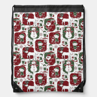 Christmas Elves & Snowmen Drawstring Bag