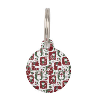 Christmas Elves & Snowmen Pet ID Tag