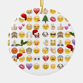 christmas emojis ceramic ornament