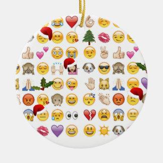 christmas emojis round ceramic ornament