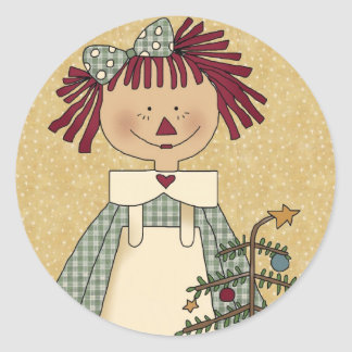 Christmas Envelope Seals: Simple Joys Annie Classic Round Sticker
