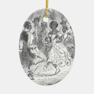 Christmas Eve Festivities on a Louisiana Estate Ceramic Oval Ornament