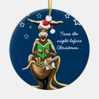 Christmas Eve in Australia Round Ceramic Ornament
