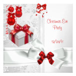 Christmas Eve Party Elegant Lace White Red Ribbon Custom Announcements