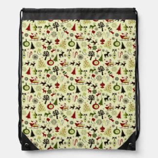 Christmas Eve Pattern Drawstring Bag