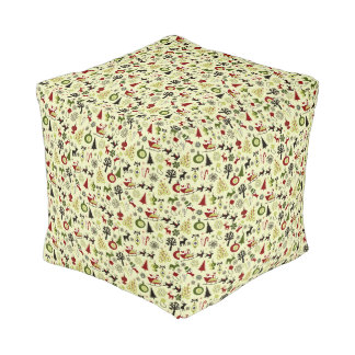 Christmas Eve Pattern Pouf