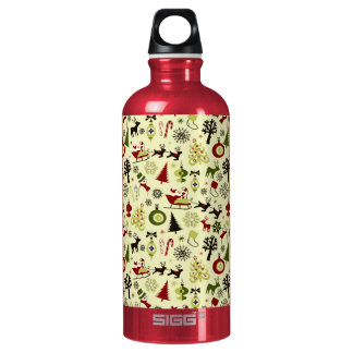 Christmas Eve Pattern Water Bottle