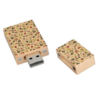 Christmas Eve Pattern Wood USB 2.0 Flash Drive